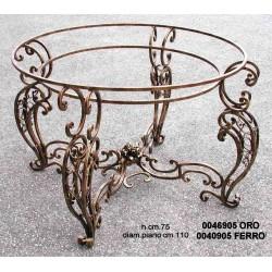 Tavolo Tondo Ferro Gamba Doppia Col.Oro