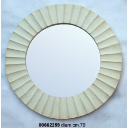 Specchiera Legno Rotonda Bianca P 9 Cm.69