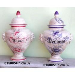 Potiche Ceramica Piccola Decoro Rosa