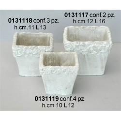 Vaso Quadro Cemento Sbiancato Dx41049A