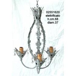 Prezo Netto Lampadario Ferro Grigio Cm.40X51Nr. L17M0643 Elettr.