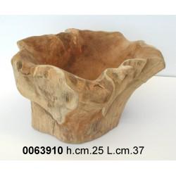 Tronchetto Teak Naturale Scavato H25 D35 (391)Nr.
