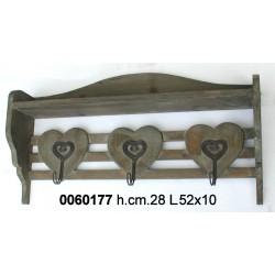 Attaccapanni 3 Cuori Legno Nat Yx11-7105-Br